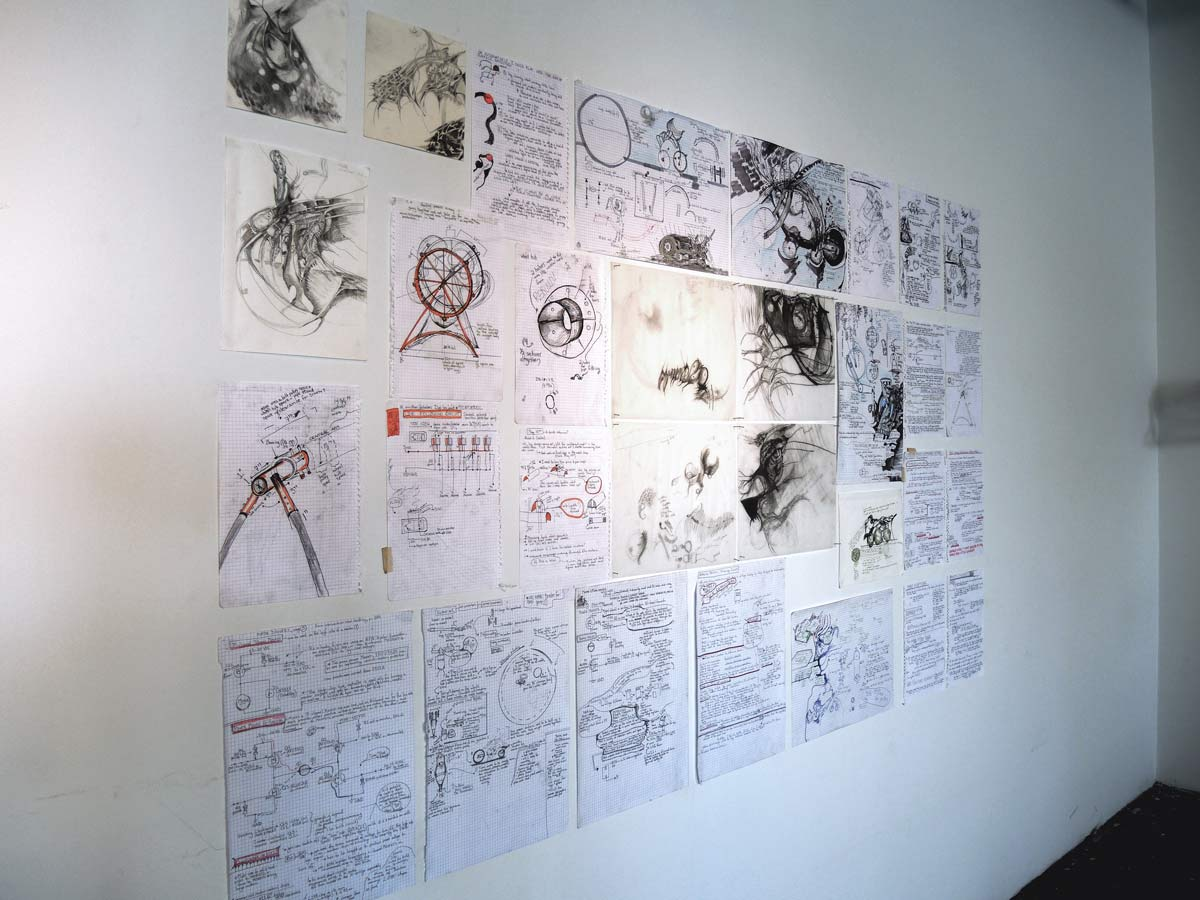 installation view of my production sketches at the Eastern Bloc gallery