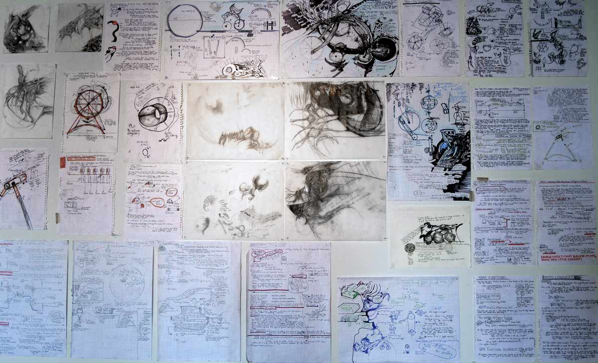 production sketches, installation view