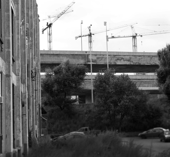 The cranes from the Super-hospital construction site up in Westmount.